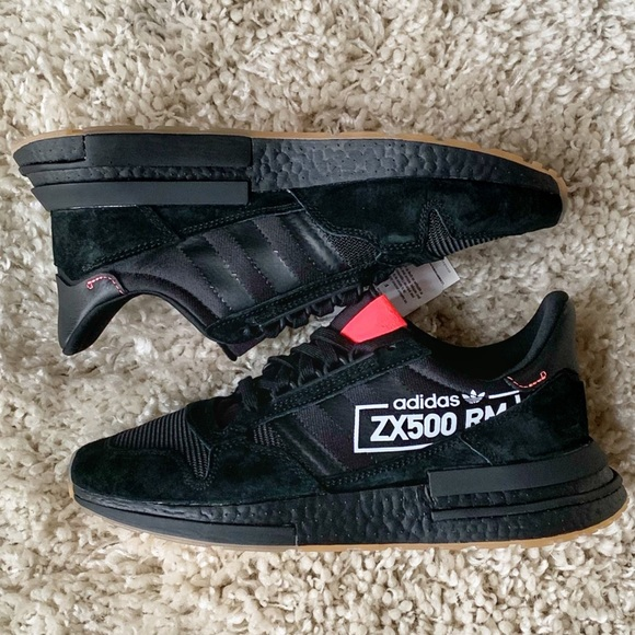 detailed look ec4a6 5b035 Adidas Originals ZX 500 RM Boost BB7443 Black 8.5 NWT